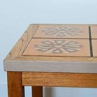 Small Tiled Oak Table with Flowers